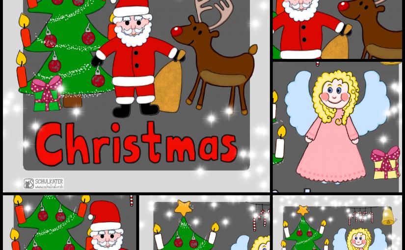 Themenkarten CHRISTMAS für Tafel, Einzelförderung oder Pocket Cube