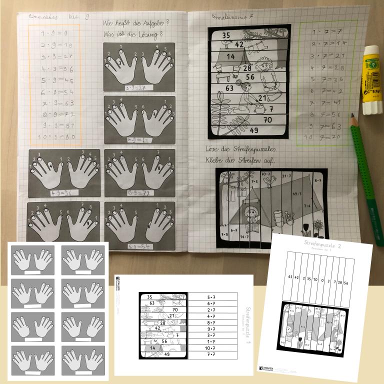 Einmaleins 7 und 9 Hefteintrag