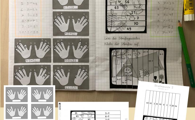 Der Trick mit der 9, Karten und 7er Streifenpuzzle fürs Matheheft