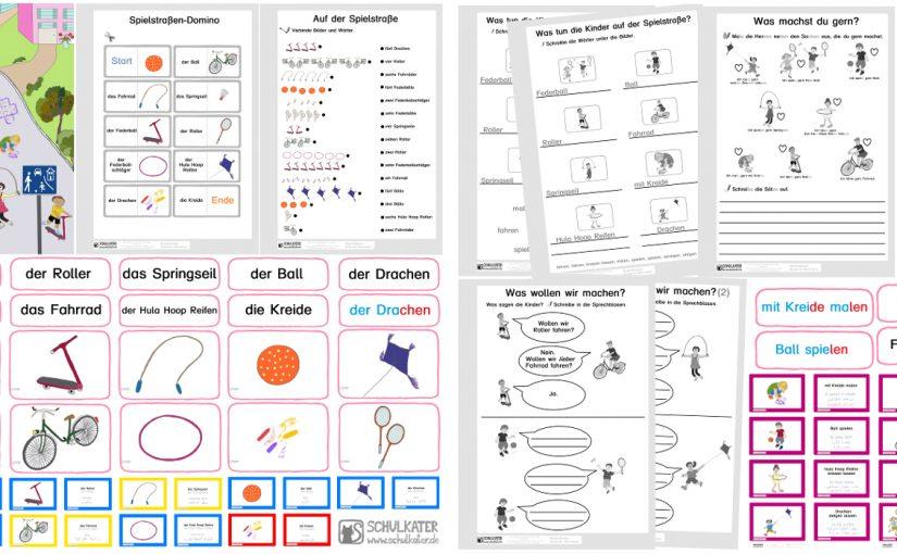 Neues Unterrichtsmaterial für DaZ / DaF: Auf der Spielstraße – Nomen und Verben