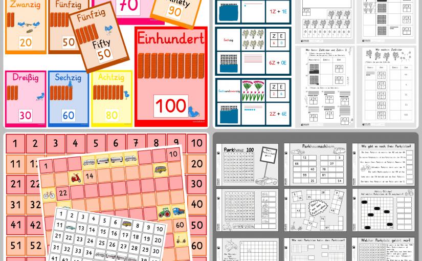 Mathematerial für den Zahlenraum bis 100: Karten, flexible Hundertertafel, Übungen