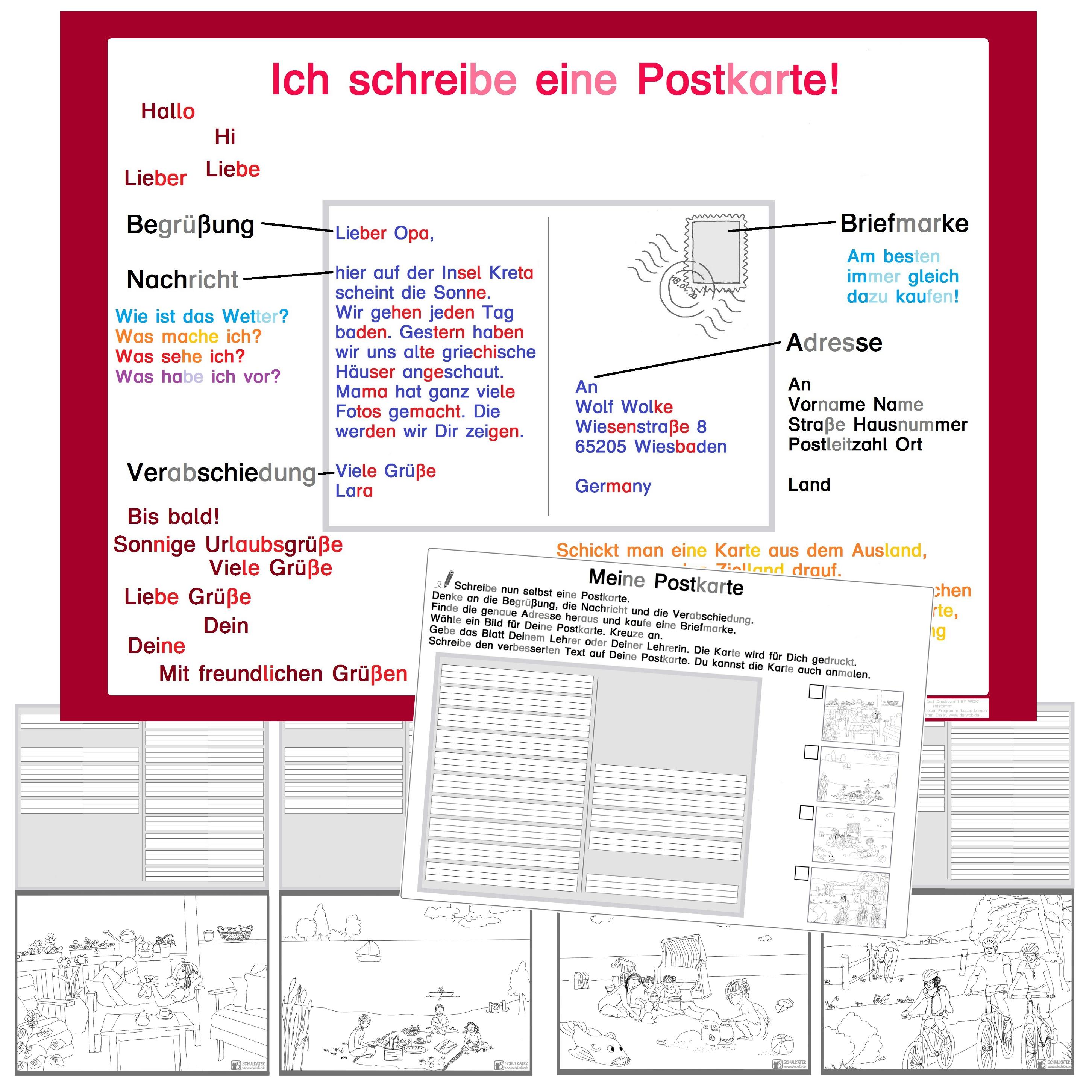 Groß Postkarten Schablone Freier Druck Ideen - Bilder für das ...