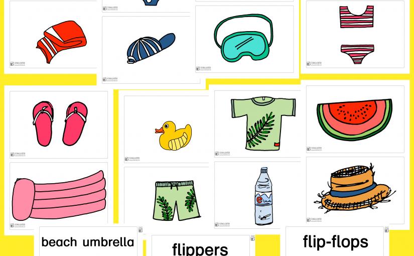 Bild- und Wortkarten zur Vokabelsonne / Summer für Englisch