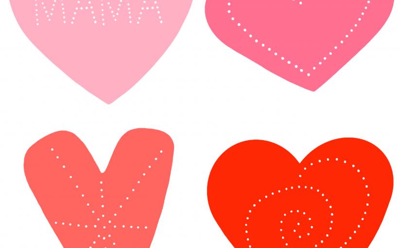 Prickelbilder mit Herzen für eine Fensterkette zum Muttertag