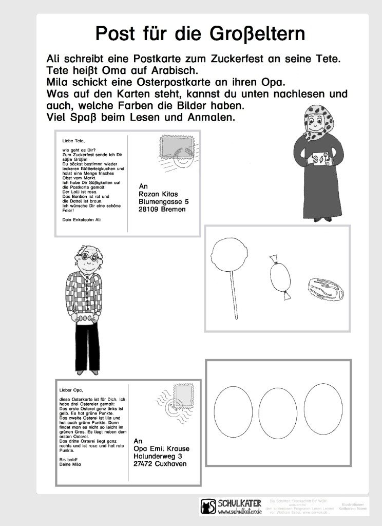 Arbeitsblatt: Postkarten anmalen - Schulkater