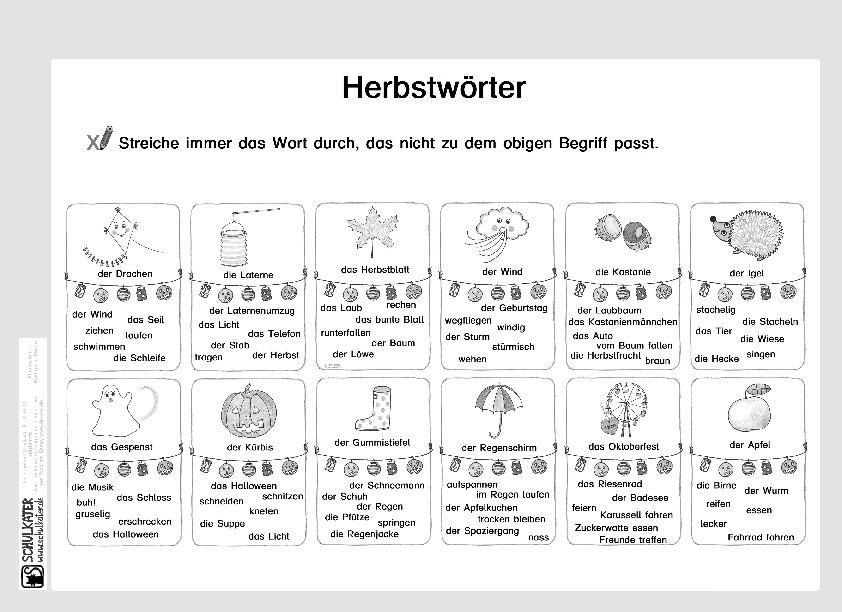 Arbeitsblatt: Herbstwörter - Schulkater