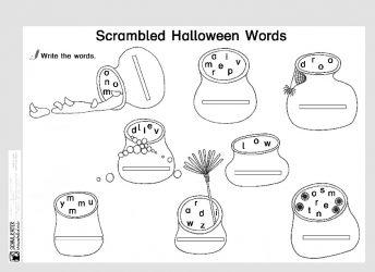 Arbeitsblatt: Scrambled Halloween Words - Schulkater
