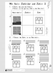 Arbeitsblatt 3: Wir finden Zahlbilder und Zahlen 2 (Silbenschrift ...