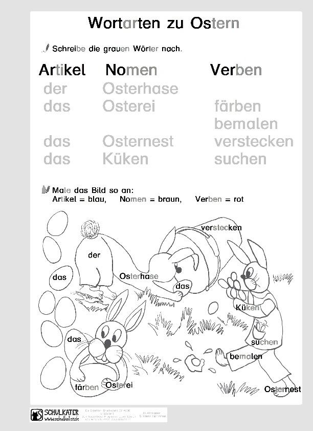Arbeitsblatt: Wortarten (Silbenschrift) - Schulkater