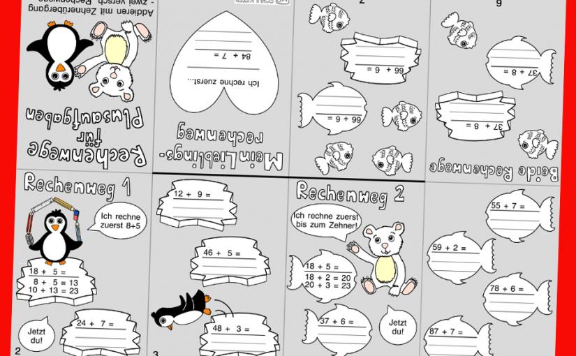 Kleines Winter-Mathe-Faltheft mit Rechenwegen bei Addition bis 100