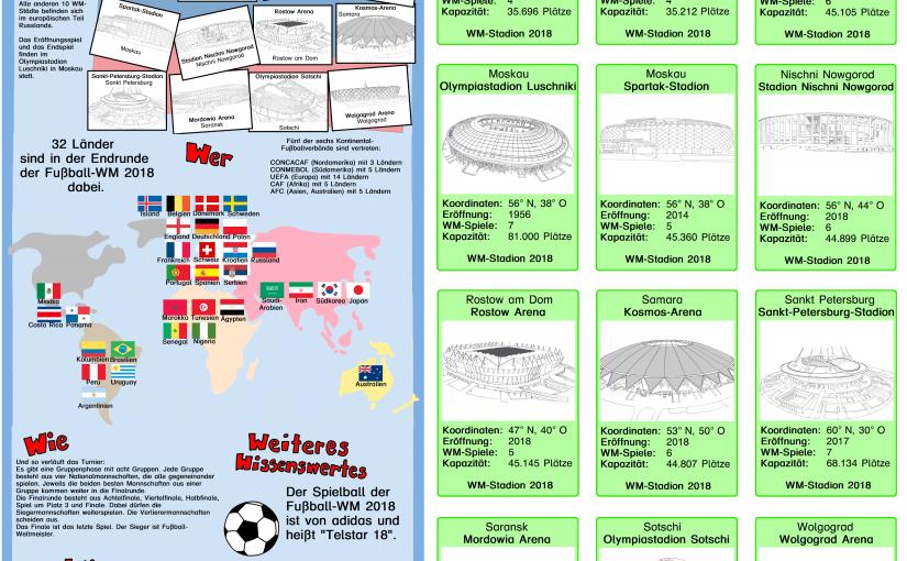 Mittwoch und dritter Tag der Fußballwoche: Infoplakat zur WM 2018 und Spielkarten
