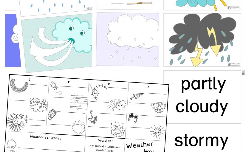 Aprilwetter im Mai und passend dazu neuer Wortschatz, Wortkarten und Übungen