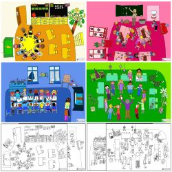 Erzählkarten mit Klassenzimmern