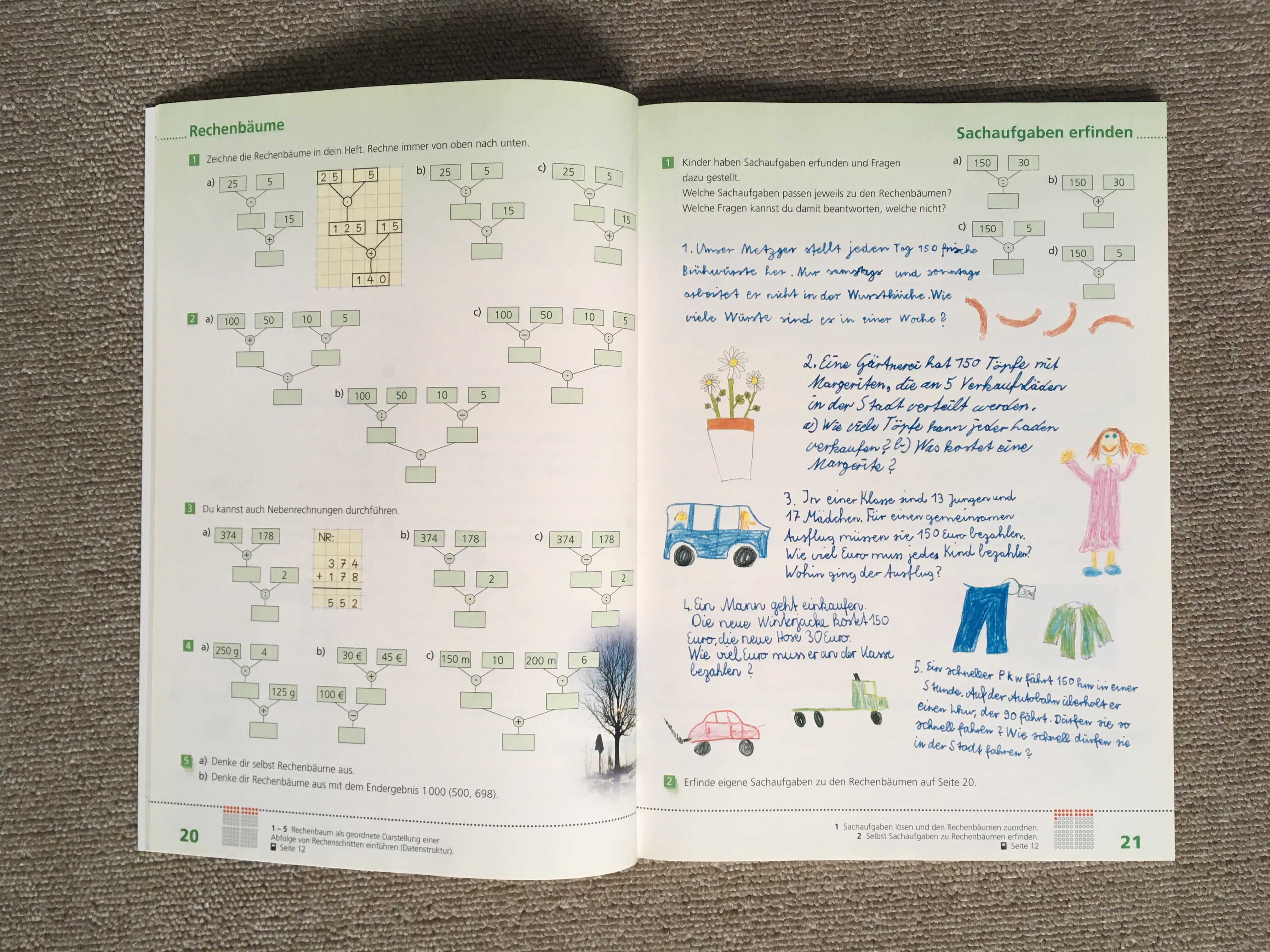 Rechenbäume - Mathematik im Herbst für die Klassen 1 - 4 - Schulkater