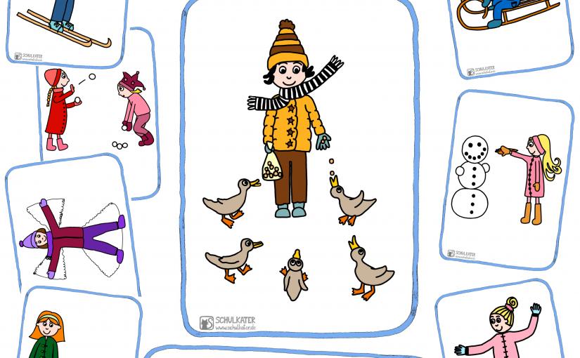 Outdoor Winter Activity Ideas for my Holidays – Bildkarten & Wortkarten