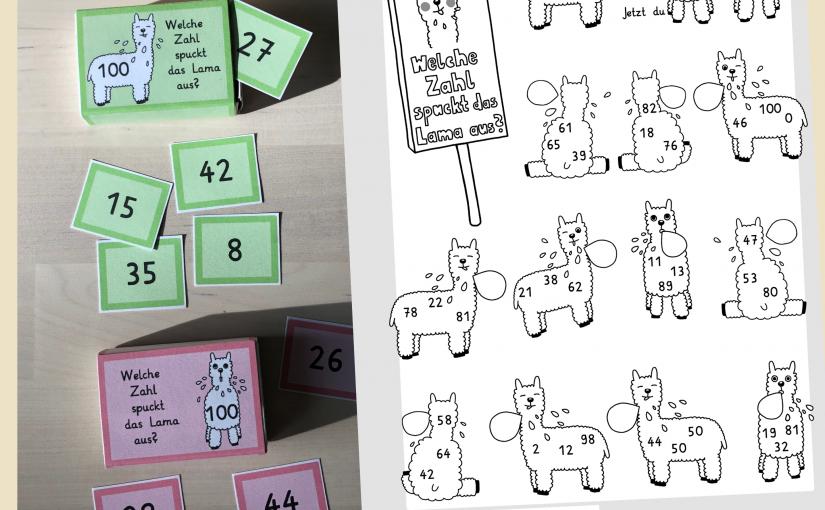 Welche Zahl spuckt das Lama aus? Mathematik Klasse 2 – differenzierbar